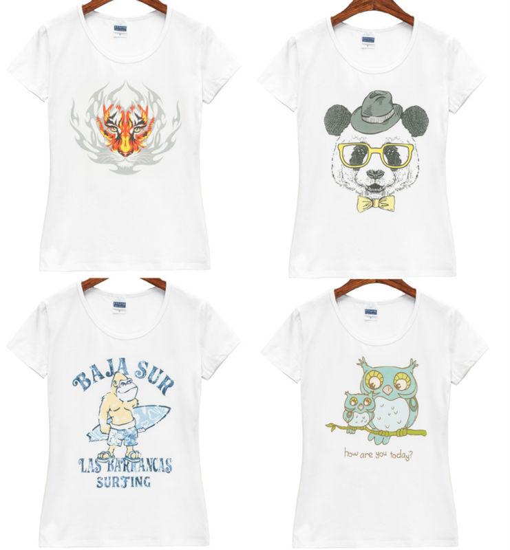Free shipping New white 95% Cotton Women T-shirts dog tiger birds pattern Tops tee Clothing Gift big size S M L XL XXL H125-128(China (Mainland))