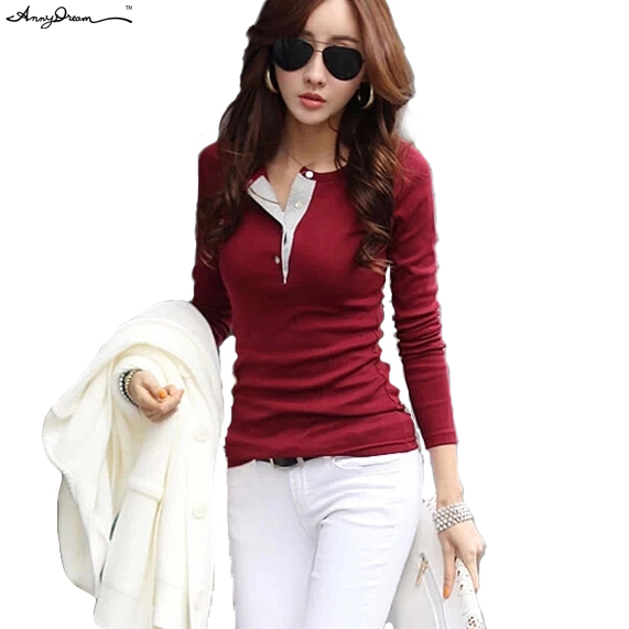 5 Colors Brand New Cotton Slim Fit O-Neck Solid Casual Polo Shirt Women Fashion Ladies Long Sleeve Blouses Tops Shirts WZTXPO007(China (Mainland))