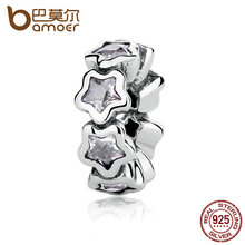 Buy BAMOER Authentic 925 Sterling Silver Starshine, Clear CZ STARS Spacers Charms fit DIY Bracelets Women Jewelry PAS325 for $7.07 in AliExpress store