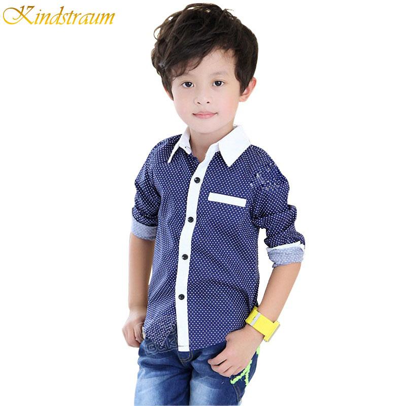 2016 NEW Polka Dot Boys Long Sleeve Shirts Spring & Fall Turn Collar Kids Shirt 2 Colors Fashion Boy Clothing, C188 - Rising Kid store