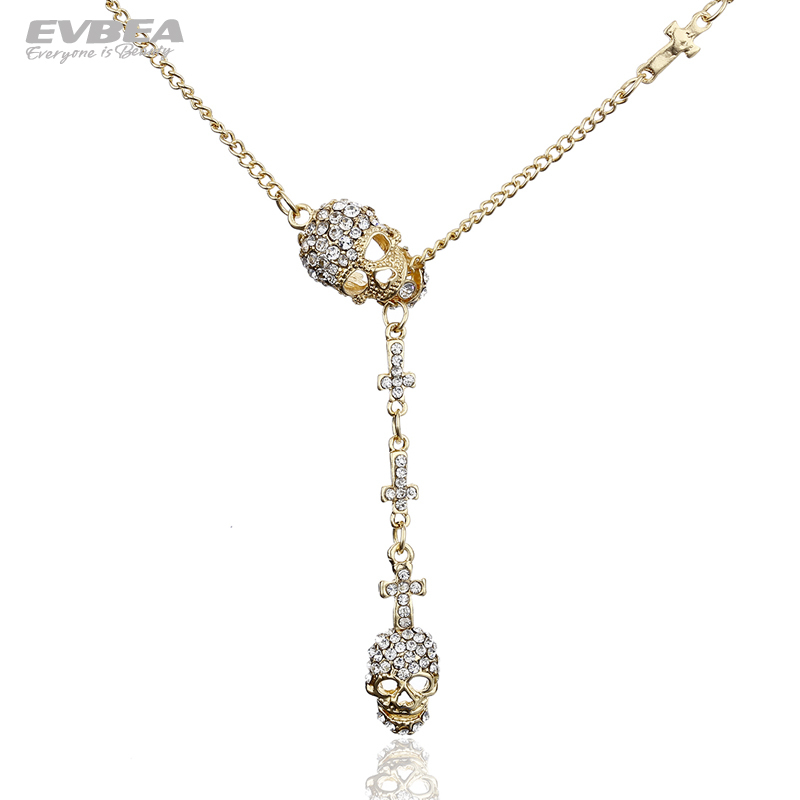 EVBEA  2013 Free Shipping Top Cool Glod Plated Glass Crystal Skeleton with Cross Pendent Necklace for Dress and Halloween Gifts<br><br>Aliexpress