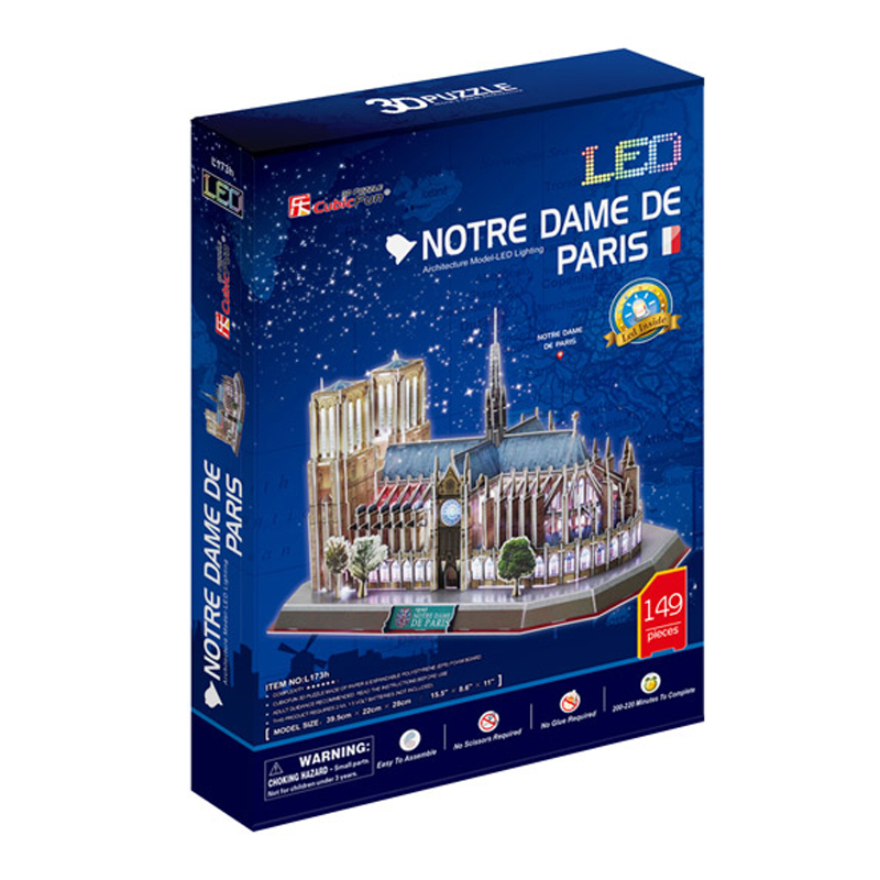 Birthday Gifts Cubic Fun 3D Puzzle w/ LED Notre Dame De Paris Model DIY Puzzles for Adults,Children Kids Toys Educational Toys(China (Mainland))