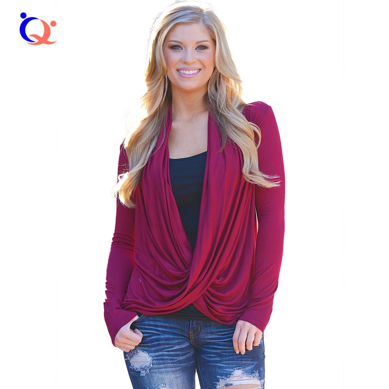 2016 Woman Front Cross Cardigan Shirts Wrap Draped Long Sleeved Sweater Tops Ladies Casual Loose Blouses Size S M L XL Wine Red(China (Mainland))