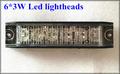 High quality 6 3W led car external warning lights lighthead strobe emergency lights metal cover 22flash