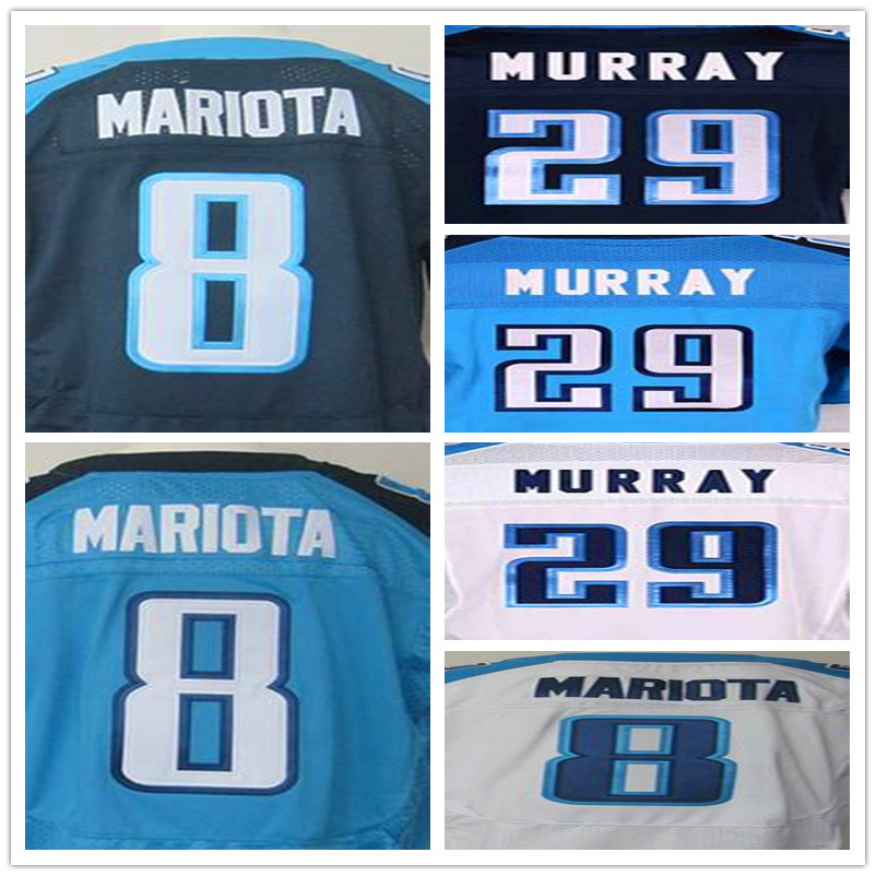 #8 Marcus Mariota #29 DeMarco Murray Men's jersey elite white navy blue 100% Stitched elite jersey(China (Mainland))