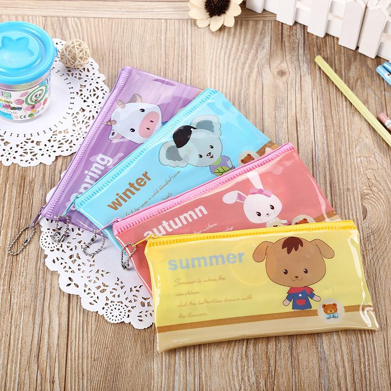 Kawaii Cartoon Animals Stationery PVC Pencil Bag School Supplies Girls Children pencil cases Kidestuche escolar WJ-WJD-2(China (Mainland))