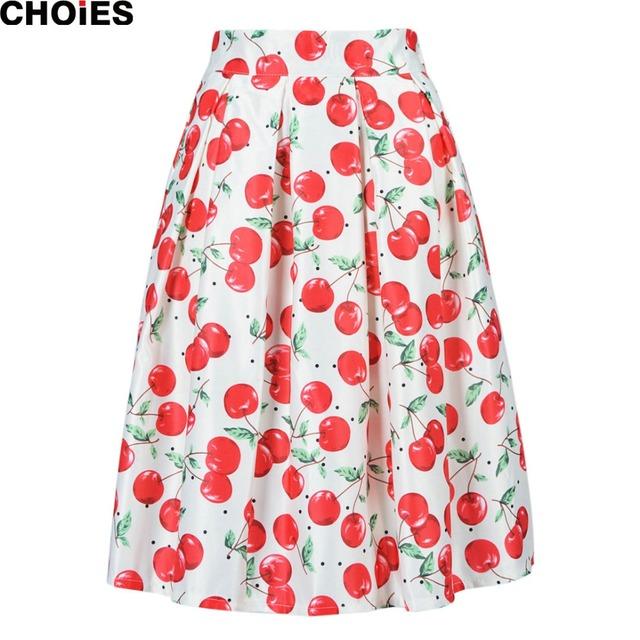 Женщины белый вишня распечатать милой среднего теленок линия конькобежец юбка эластичный пояс 2016 весна лето новинка свободного покроя женская одежда