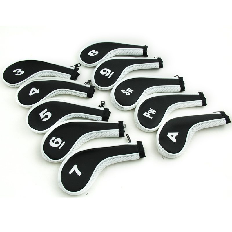 White Color Iron Covers Headcovers Neoprene Protector Golf 10x Golf Club Head Cover per Set(China (Mainland))