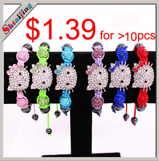 Wholesales 2013 NEW Item Lots Mix Colors Hello kitty bracelet Shamballa bracelet Children Jewelry(China (Mainland))