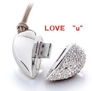 Genuine Capacity USB Flash Drive, Heart Pen Driver, Gift USB Flash Disk, Jewelry USB flash drive