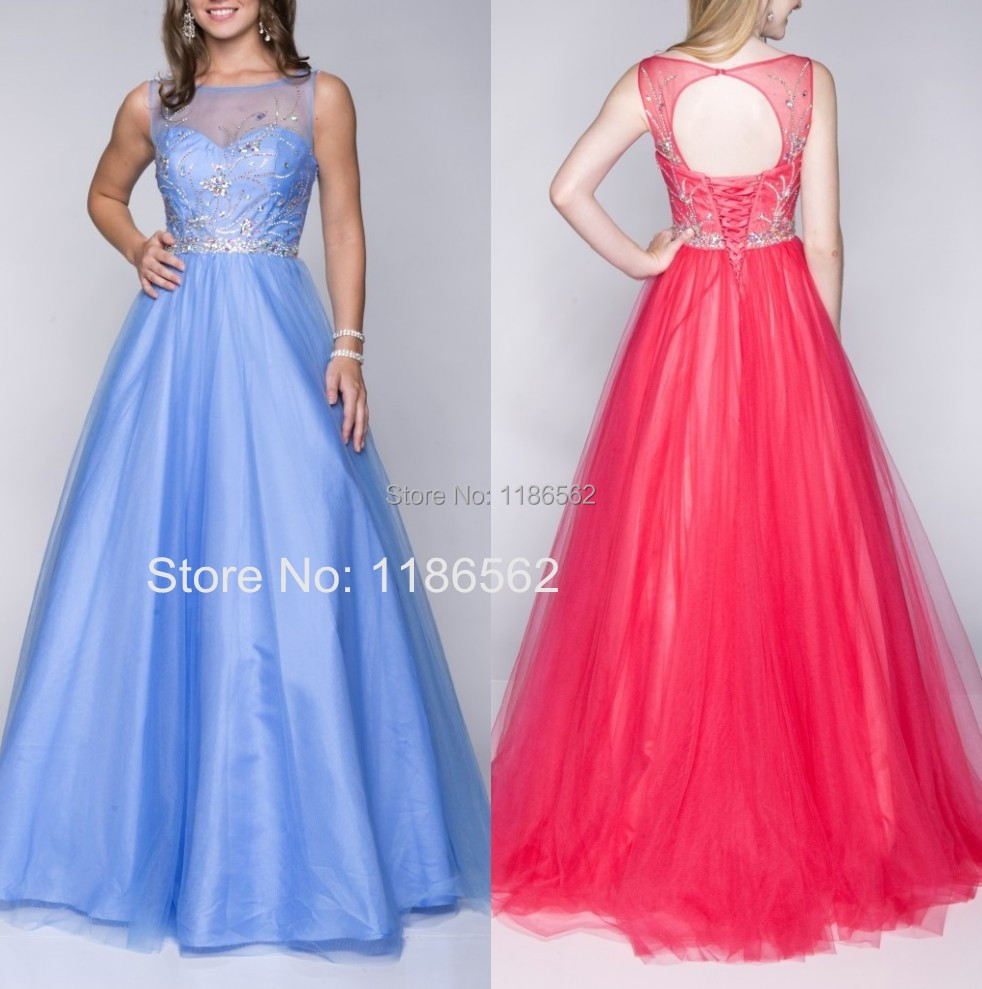 Gorgeous Sheer Neck Light Blue Long Prom Dresses Ball Gonws Lace up Closure 2015 Open Back Vestidos De Festa Crystals Beading(China (Mainland))