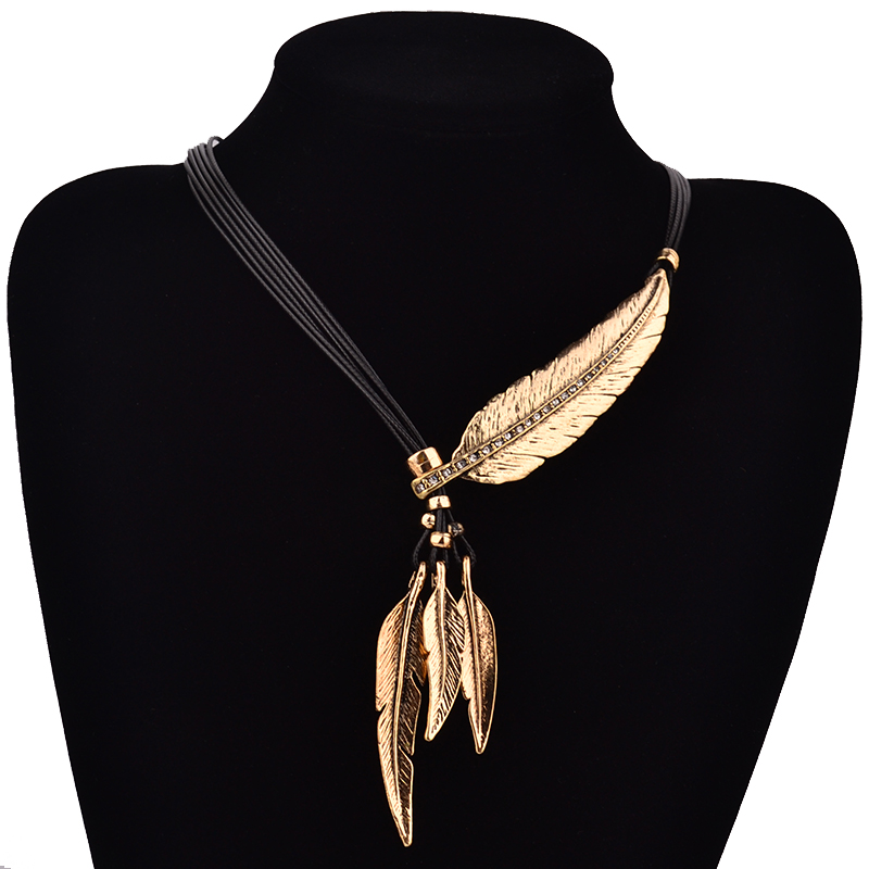 Fashion Bohemian Style Black Rope Chain Feather Pattern Pendant Necklace For Women Fine Jewelry Collares Statement Necklace(China (Mainland))