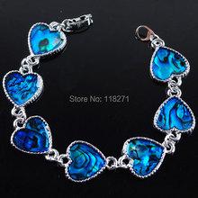 Free shipping Charm Blue New Zealand Abalone Shell Beads Heart Silver plated Bracelet 7 Inches Fashion Jewelry PK1753(China (Mainland))