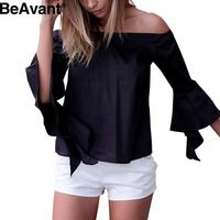 BeAvant Elegant 3/4 sleeve ruffle white blouse shirt Sexy off shoulder cool blouse Women summer style tops cotton sexy blusas