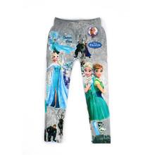 5-10 Y Girls Anna Cartoon Print Leggings Pantyhose Underpants Kids Girl Pants Printing Flower Elsa Kristoff Olaf legging(China (Mainland))