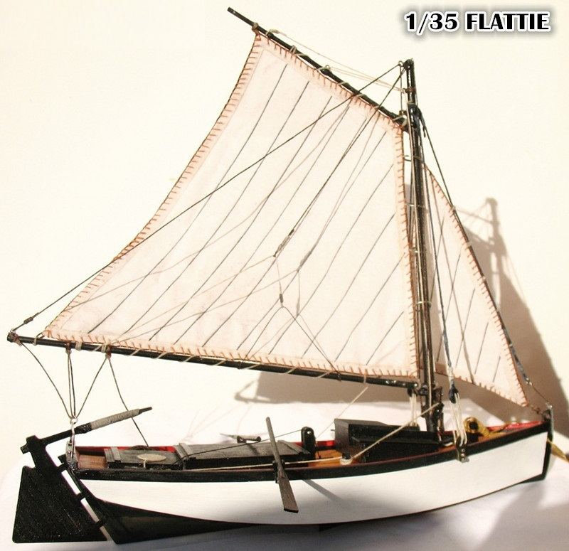 """Free shipping Classic wooden sail boat model scale 1/35 """"FLATTIE"""" finshing boat model(China (Mainland))"""