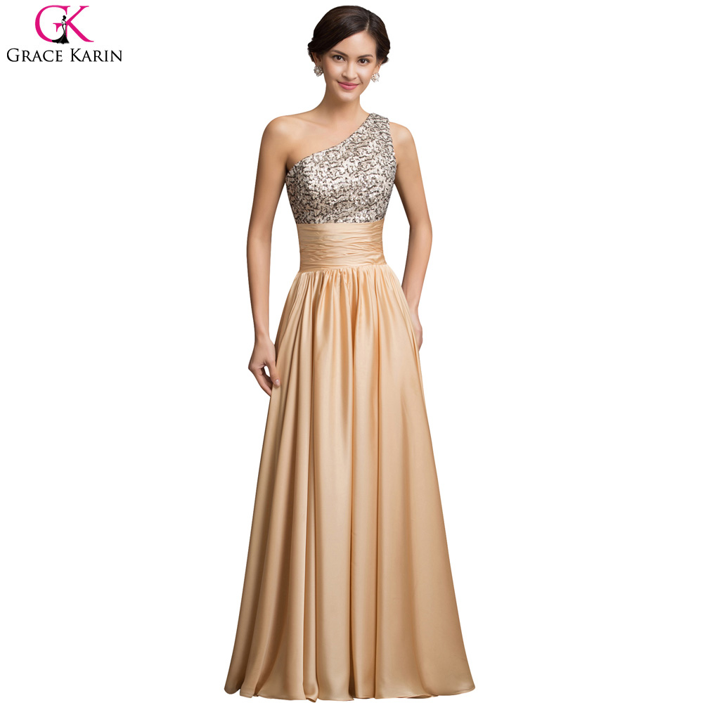 Popular Formal One Shoulder Gold Gown-Buy Cheap Formal One ...