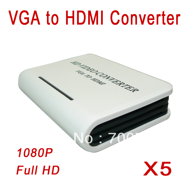 5pcs/lot Audio VGA TO HDMI 1.3V HD HDTV Video Converters Box Adapters with Audio Input for PC Laptop Support 1080P Free Shipping(China (Mainland))