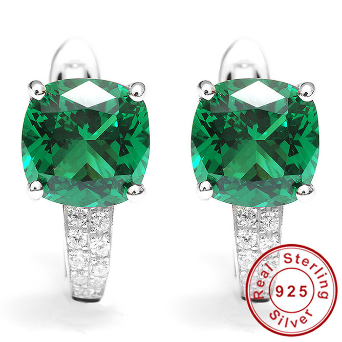 Nano Russian Emerald Earrings Clip Solid 925 Sterling Solid Silver Stunning Square Unique Design 2015 Brand New For Women(China (Mainland))