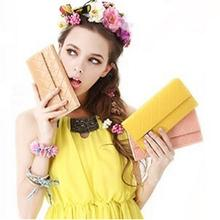Fashion 2015 New Sale Hasp PU Leather Female Wallet Famous Brand Solid Color Women Clutch Casual