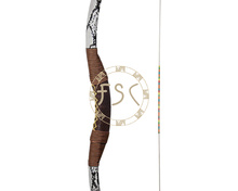 Handmade wood and glass fiber laminated 50lbs recurve bow Snakeskin and leather facade fiberglass archery hunting