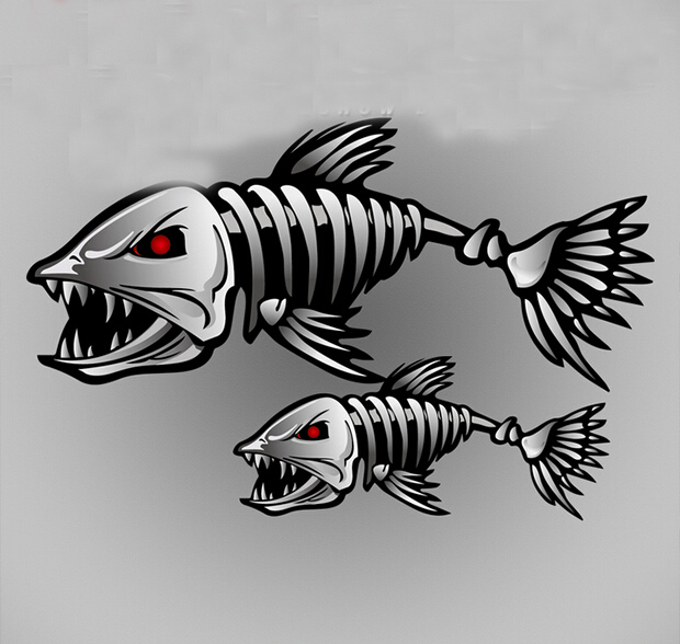 Fearsome Cartoon Shark Skeleton Car Sticker Reflective Fish Cars Decal On Rearview Mirrors Car Cover Scratches Decals Styling(China (Mainland))