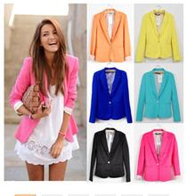 2015  Women Suit Blazer Foldable Brand Jacket Made Of Cotton & Spandex With Lining Vogue Candy Colors Blazers Free ShippingA7995(China (Mainland))
