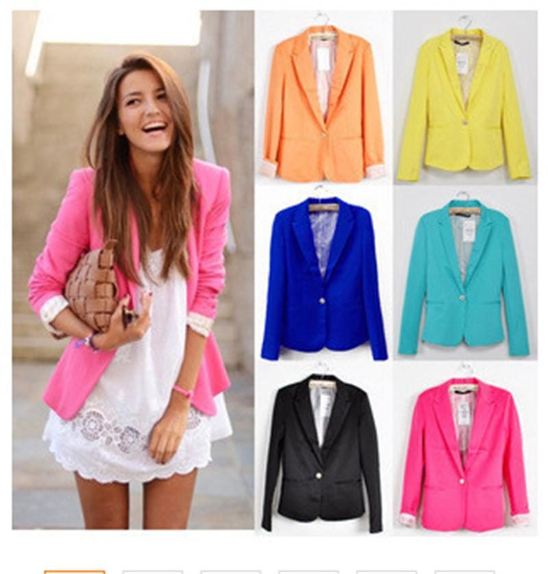 2016 Women Suit Blazer Foldable Brand Jacket Made Of Cotton & Spandex With Lining Vogue Candy Colors Blazers Free ShippingA7995(China (Mainland))