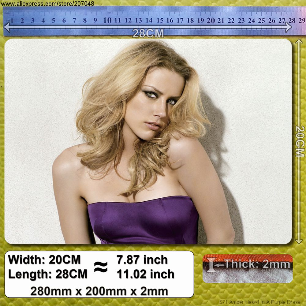 Decoration Place Pad for Celebrity 671 Amber Heard In A Purple Dress Mouse Mat 28 x 20 x 0.2 cm(China (Mainland))