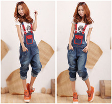 American Apparel Regular Pockets Bleached Washed Top Fashion Waist Jeans Women Jeans 2016 New Big Yards Denim Overalls Harlan