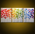 3 panel abstract modern cheap wall handmade decorative tulip flower colorful oil paintings on canvas for