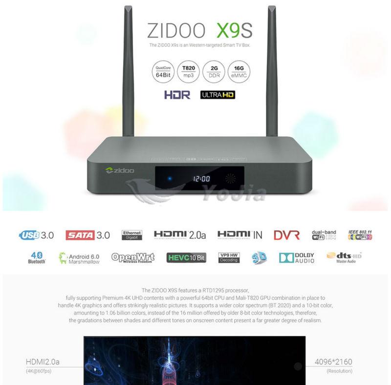 image for Original ZIDOO X9s TV BOX Android 6.0 + OpenWRT(NAS) Realtek RTD1295 2