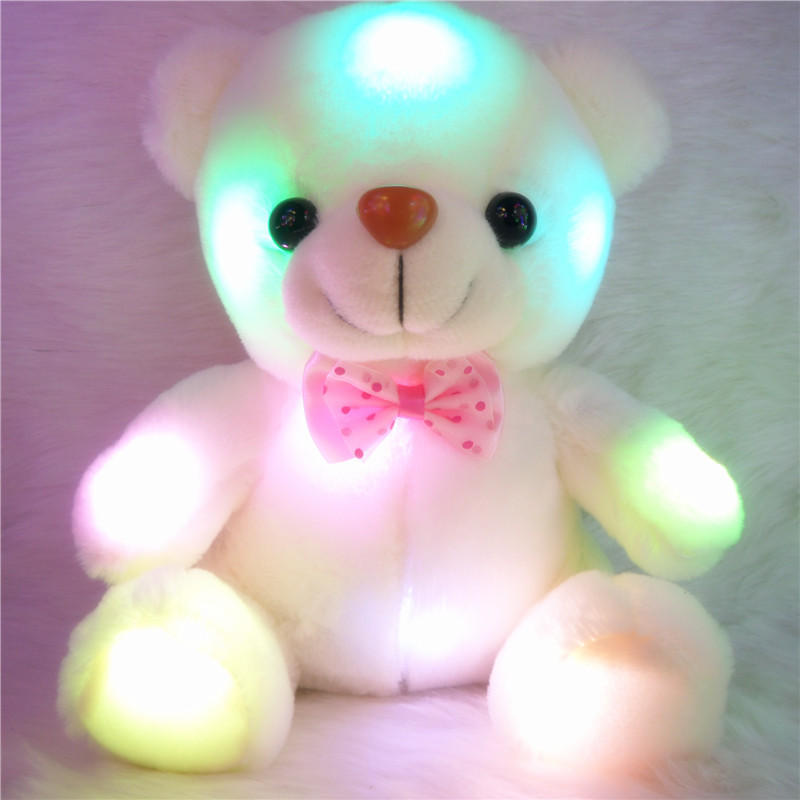 2015 New Hot Colourful LED Flashing Teddy Bear Plush Toy Luminous Teddy Bear Soft Toys for Creative Gifts 5PCS/Lot Free Shipping(China (Mainland))