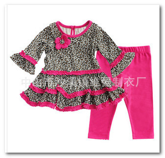 Fashion children leopard outfits toddler girls leopard flowers Elbow tiered Falbala dress tops+rose red Leggings 2pcs sets 1630