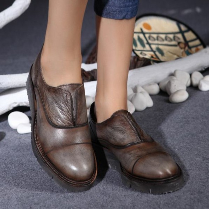 Handsome women shoes vintage handmade genuine leather unisex shoes first layer of cowhide female shoes comfortable flats