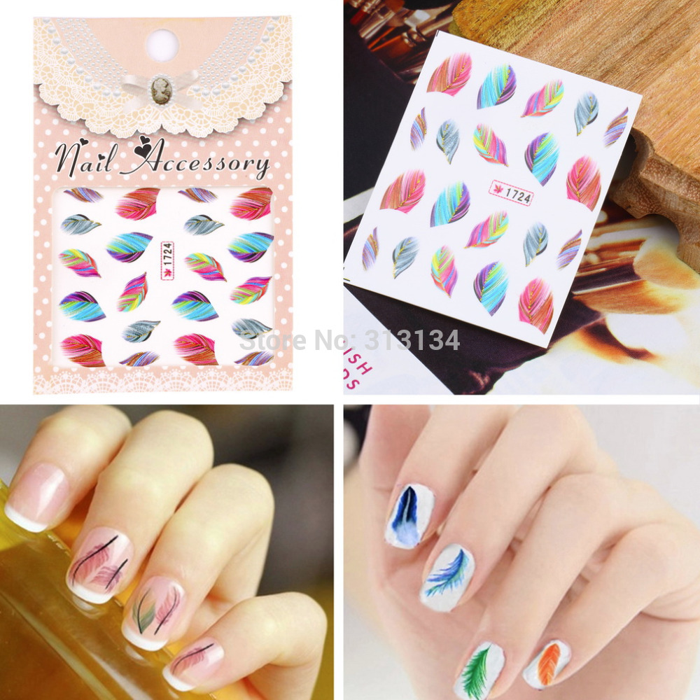 20pcs sheet Colorful Beauty Feather Nail Art Decal Water Transfer Stickers Fashion Nail Art Tips Decoration