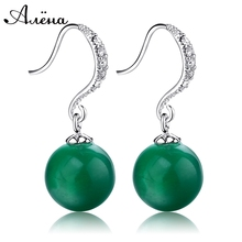Green Jade Earrings Wedding For Brides Natural Agate Stone Vintage Crystal Rhinestone Silver Plated Para Novias Ball Earrings(China (Mainland))