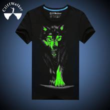 Novelty 3D T Shirt Men Cotton Black Wolf Printed T Shirt Short Sleeve Luminous T shirt