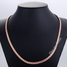 5MM 20inch 24inch Hammered Flat WHEAT Chain Necklace 18K Yellow Rose White Gold Filled Necklace Bracelet