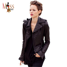 Real Genuine Leather high Fashion street brand style Women's Short Motorcycle Jacket Black basic jacket Outerwear good quality(China (Mainland))