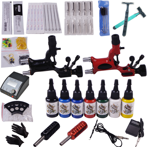 Cheap stuff Tattoo kits for beginners YLT-16 complete set of tattoo kit wiht free shipping(China (Mainland))