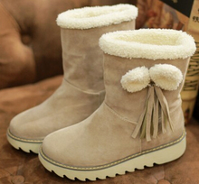 Mujeres otoño invierno corto botas de nieve gruesa plataforma zapatos arco borla zapatos de tacón grande más el tamaño 40-43(China (Mainland))