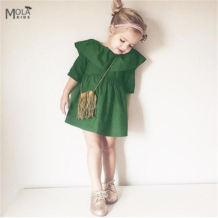 Clearance!!!Nununu Bebe Baby Girls Dress Big Collar Dress Summer Half Sleeve Green Dresses Kids Toddler Party Princess Clothes(China (Mainland))