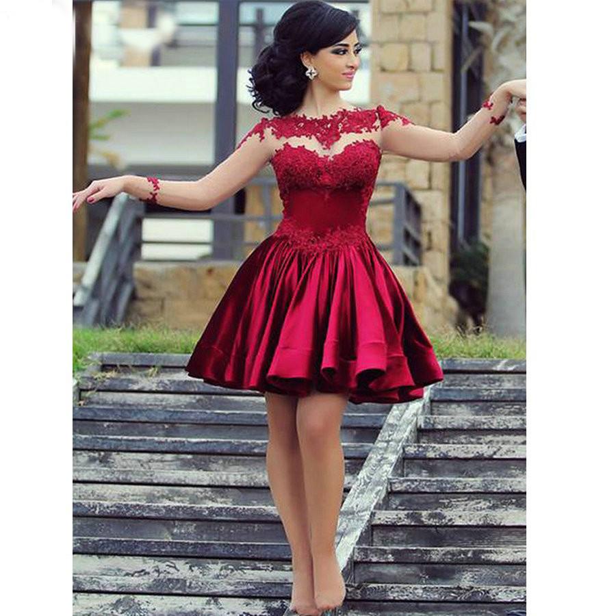 Привлекательный 2015 красный видеть сквозь длинными рукавами атласная короткие платье невесты с аппликациями ну вечеринку платье