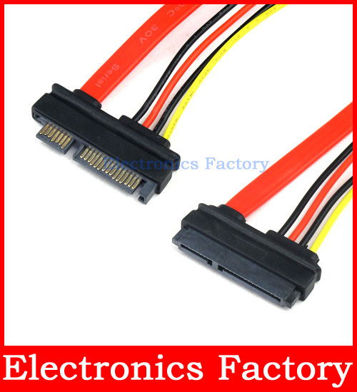 22PIN 15+7 PIN Male To Female SERIAL ATA SATA HDD Data POWER EXTENSION M/F Wire CABLE<br><br>Aliexpress