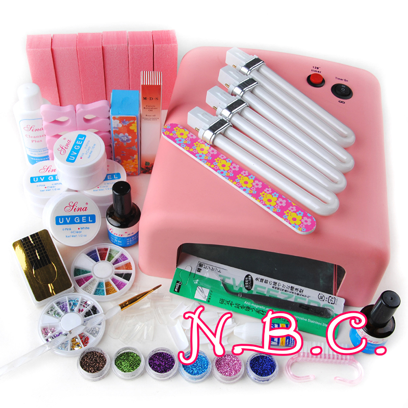 New 36W UV Curining Dryer Lamp + 6 Glitter Powders UV Gel + Clear White Pink Builder Gel Kit French Nail Art Tips Tools Set(China (Mainland))