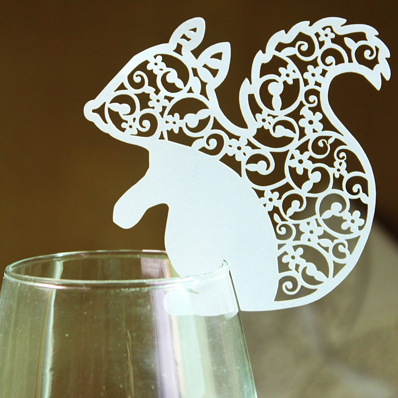 6 White Ivory Design Cute Animal Squirrel Pattern Laser Cut Glass Cup Cards Party Decorative Paper Supplies Birthday - Kim Wedding Store store