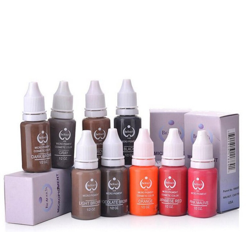 10 pcs Permanent Tattoo Makeup Pigment Cosmetic Inks For Eyebrow Lips makeup 20 Colors to Choose 15ml/Bottle Free Shipping
