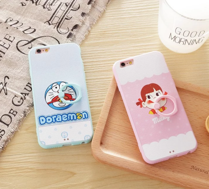 Hard Case with Ring Stand Holder for Iphone 6 6s Plus Metal Finger Support Bracket Cover 360 Rotating Milk Girl Doraemon Carving(China (Mainland))