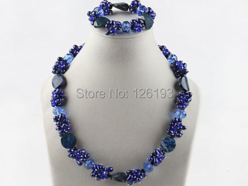 wholesale Freshwater Pearl, Crystal Beads and Lapis stone Necklace Matching Bracelet<br><br>Aliexpress